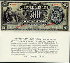 COOL MEXICO BANCO DE CAMPECHE 500 PESO FANTASY ART NOTE 1-SIDED COLOR UNC-
