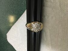 MENS 14K YELLOW GOLD DIAMOND CLUSTER RING NO RESERVE