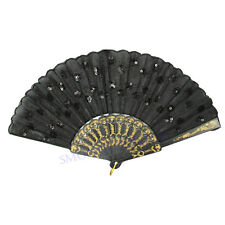 Stylish Embroidered Sequin Hand Lace Flower Chinese Dancing Folding Fan Decor