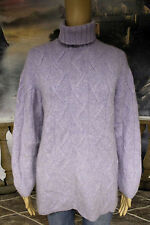 #3906 MARIELE WAITHE THICK 100% CASHMERE CABLE TURTLENECK SWEATER WOMENS LARGE