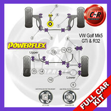 VW Golf Mk5 GTI 03-09 Powerflex Full Bush Kit Frt Wishbone Frt Bushes Camber Adj