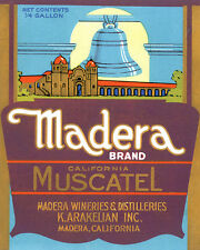 MADERA CALIFORNIA MUSCATEL WINERIES WINE 8X10 VINTAGE POSTER REPRO FREE S/H