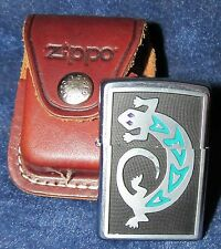 Zippo Silver Lizard Lighter with Leather Case (2004)