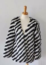 Lush brand Black white zebra Stripe Faux Fur Coat Halloween women small Medium