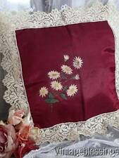 Victorian Antique Daisies on Silk Pillow Sham Lace Trim French Doll Perfect