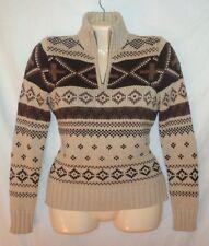 Ralph Lauren Ski Chunky Sweater P/S Tan/Brown Indian Blanket Zip Mock Turtleneck