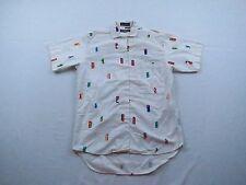 Womens Generra Collection Geometric Cotton SS Button Up Top Blouse Shirt Sz S