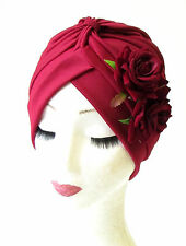 Burgundy Deep Red Rose Flower Turban Headpiece 50s Rockabilly 1940s Floral 1201