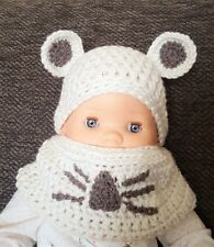 Chunky Crochet Hat With Ears & Snood/ Baby Hat/ Scarf/ Snood