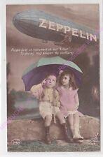 CPA MILITARIA PATRIOTIQUE ZEPPELIN Enfants sous un parapluie vert ca1916