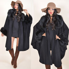 Black Avant Garde Draped Faux Fox Fur Swing Cape Coat Kimono Jacket