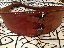 "MOROCCAN 100% Vintage Tanned Bohemian Leather Cinch Buckled Waist Belt 32"" - 38"""
