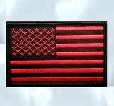 USA US UNITED STATES AMERICAN FLAG TACTICAL UNIFORM BLACK OPS RED VELCRO PATCH