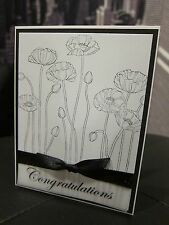 "Stampin Up ""Congratulations"" Pleasant Poppies Wedding/ Engagement Handmade Card"