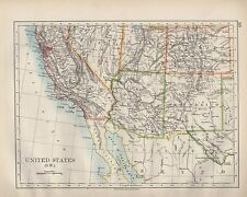 1899 VICTORIAN MAP ~ UNITED STATES SOUTH WEST ~ CALIFORNIA ARIZONA NEW MEXICO