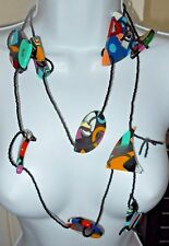 "Sobral Rare Miro Jardim Garden Statement 54"" Long Necklace Direct From Brazil"