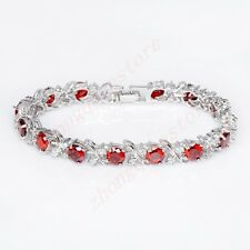 7mm Colorful Round Cubic Zirconia Tennis Bracelet 10KT White Gold Filled Jewelry