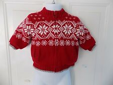 Janie And Jack Red/White Snowflake Jersey Lined Sweater Jacket Size 3/6 Months