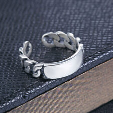 925 Sterling Silver Open Cuff Size Adjustable Ring, USA Size 5 -9