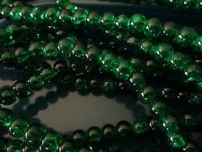 CRACKLE CRYSTAL GLASS BEADS, SOLD BY 100 BEADS STRAND 8 MM EMERALD GREEN COLOR