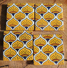 "36~Talavera Mexican 2"" tile pottery hand painted GOLD YELLOW BLUE white PEACOCK"