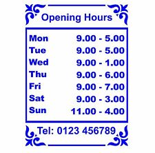 Opening Hours Times Sticker For Shops Pubs Clubs You Choose Hours and Colour OH3