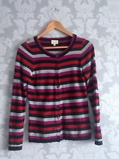 East Coral Red Grey Striped 100% Merino Wool Cardigan Size S