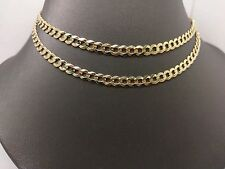 "New 10K Yellow Gold Solid Cuban Link Chain With Diamond Cut Texture 24"" 13.2Gram"