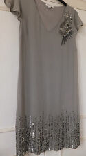 Monsoon Ladies Evening Dress Size 10  Taupe Grey. Jewel Sequin Bead Applique