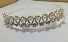 wedding prom party bridal alice band tiara with clear diamonds and pearl d2