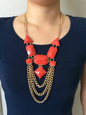 Forever21 F21 Coral Edgy Bib Necklace - Brand New Authentic