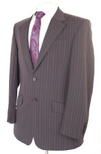 RIVER ISLAND BROWN - GREY PINSTRIPE MEN'S SUIT 38R DRY-CLEANED