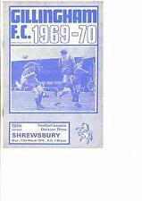 Gillingham v Shrewsbury Town 1969/70 division 3