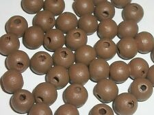 Wood beads, 8mm round dyed wooden beads jewelry making -- Brown 100 pc