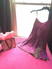 Victoria's Secret Purple Floral Satin Silk FEEL Chemise Slip L NWT *Free Ship