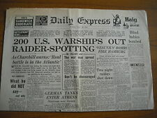 WW2 WARTIME NEWSPAPER - DAILY EXPRESS - APRIL 28th 1941