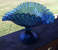 Vintage Blue Glass Pedestal Dish Candy 5 1/2 Inches Tall