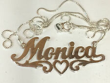 Silver MONICA  Name PERSONALIZE Necklace Pendant CHAIN Initials Charm Lett