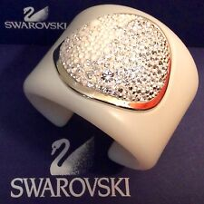 GENUINE SWAROVSKI® SIGNED CRYSTAL PAVE ACRYLIC GLASS BRACELET~ CHIC MULTIWHITE