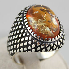 Turkish Handmade Ottoman 925 Sterling Silver Amber Men Ring Size 10.75 US