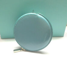 Tiffany & Co. Teal Blue Round Patent Leather Coin Purse Pouch New in Box!