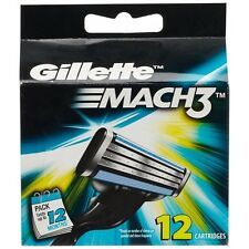 Gillette Mach3 Pack Of 12 Cartridges Shaving Blades For Razor - New Mach 3