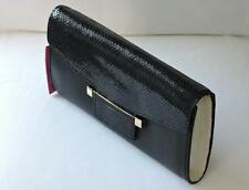 VINCE CAMUTO Julia Black Leather/Snake Clutch Handbag $198.00 NWT