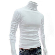 Men's Knitted Polo Roll Turtle Neck Pullover Sweater Jumper Tops Casual Slim 201