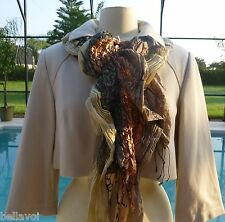 Womens Short Jacket Size 10 Designer Kay Unger NY Sand Cropped Sprin Neutral NWT