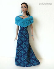 "TYLER Clothes Tonner 16"" handmade Blue STOLE + GOWN +JEWELRY Fashion NO DOLL d4e"