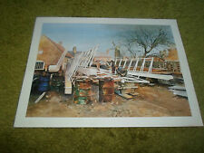 Delightful Boat Building Scene + Windmill Print by Edwin Straker Not Framed