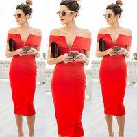 Women Sexy Off-shoulder Bandage Slim Bodycon Evening Party Cocktail Midi Dress