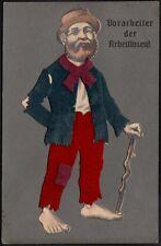 """Collage papier et velours. """"vorarbeiter der arbeitlosen"""". Vers 1915"""