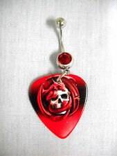 NEW WILD RED DRAGON AROUND HUMAN SKULL PRINTED GUITAR PICK w RED CZ BELLY RING